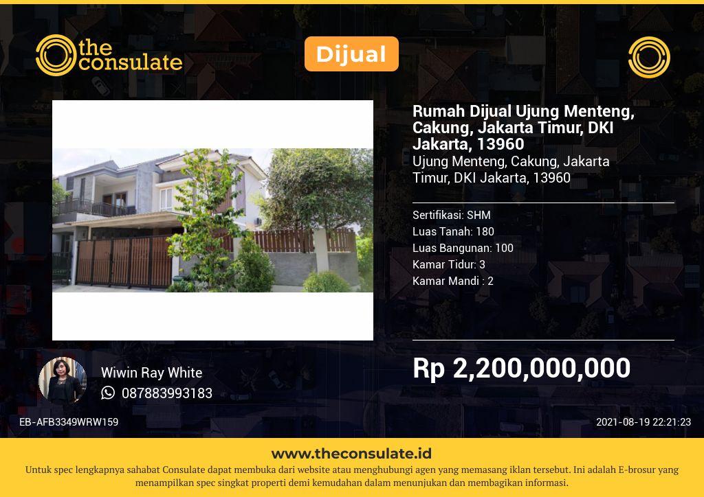 Rumah Dijual Ujung Menteng, Cakung, Jakarta Timur, DKI Jakarta, 13960