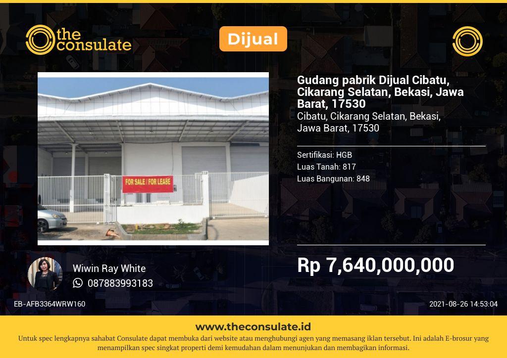 Gudang pabrik Dijual Cibatu, Cikarang Selatan, Bekasi, Jawa Barat, 17530