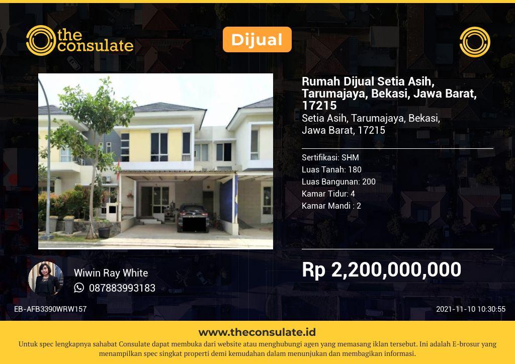 Rumah Dijual Setia Asih, Tarumajaya, Bekasi, Jawa Barat, 17215