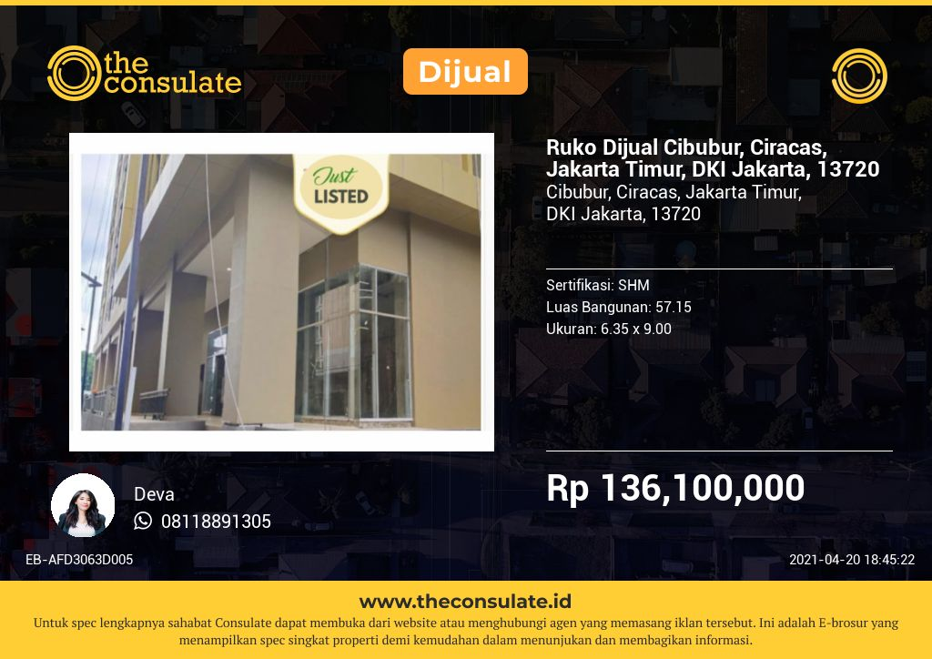 Ruko Dijual Cibubur, Ciracas, Jakarta Timur, DKI Jakarta, 13720