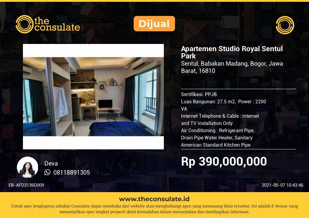 Apartemen Studio Royal Sentul Park