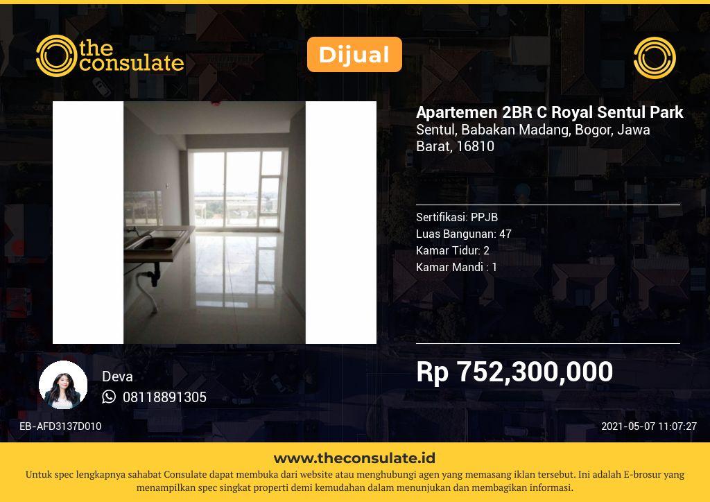 Apartemen 2BR C Royal Sentul Park